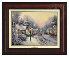 Thomas Kinkade Village Christmas – Canvas Classic (Burl Frame)