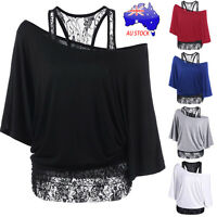 Sexy Women Plus Size Cotton Lace Loose Casual Long Sleeve Tops Blouse Shirt Tops
