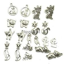 20 Antique CATS Silver Charms Pendants FOR CRAFT JEWELRY MAKING FINDINGS