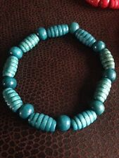 Blue Wood Bracelet, Turquoise Wood Barrel Bead, Wooden beads