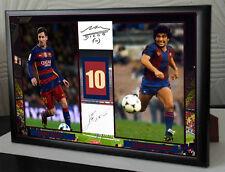 Lionel Messi & Diego Maradona Barcelona Framed Canvas Tribute Signed Gift