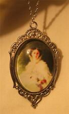 Heart Rim Victorian-Inspire Civil War Belle Red Roses Cameo Pendant Necklace
