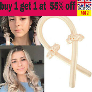 Women Girls Silk Ribbon Hair Curler Heatless Curling Rod Headband Wave Formda