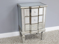 Vintage Shabby Chic Mirrored Bedside Cabinet Table Drawers Statement Piece