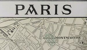 """Vintage 1900 PARIS FRANCE Map 11""""x14"""" ~ Old Antique Original EIFFEL TOWER LOUVRE"""