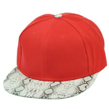 Red Blank Plain Solid Hat Cap Faux Animal Snake Skin Flat Bill Snapback White