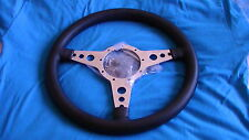 "MOTO-LITA 14"" MK4 POLISHED HOLES  LEATHER RIM FLAT STEERING WHEEL MG, TRIUMPH"