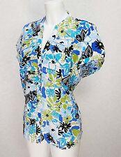 BM blue green white Linen blend Mandarin collar short sleve button top blouse 18