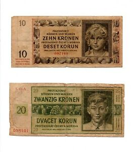 Set of Two 1942 Bohemia and Moravia 10 Korun and 20 Korun German Occupation WW2