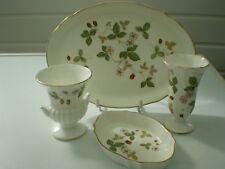 Wedgwood Bone China Pieces : Wild Strawberry : Tray, Pin Tray, Urn, Trumpet Vase