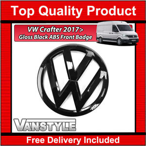 FOR VW CRAFTER 2017> FRONT GRILLE BADGE GLOSS BLACK REPLACEMENT BADGE NOT CHROME