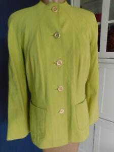 ST. JOHN (yellow label) CHARTREUSE GREEN dress PANTS SUIT top JACKET SET M p