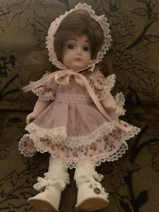 """Antique Reproduction Small Porcelain Doll 9"""" Dressed Brown Hair + Eyes GRACE"""