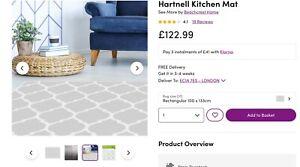 RRP£129 Hartnell Kitchen Bathroom Mat by Beachcrest Home 133x100cm vinyl