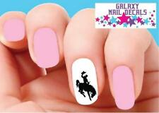Waterslide Nail Decals - Set of 20 Cowboy on Bucking Bronco Horse Silhouette