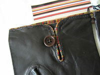New Paul Smith Vintage Stripe Piping BROWN Leather Gloves BNWT 9.5