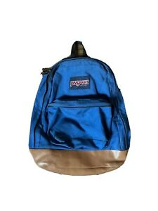 Vintage Jansport Backpack Blue with Leather Bottom Made in USA