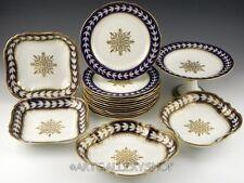 Antique Aynsley England COBALT BLUE GOLD ENCRUSTED LUNCH SERVING PLATES Set 17PC