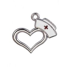 10Pcs Nurse Cap Enamel Charms Lot Medical Hat Wholesale Heart Pendant Findings