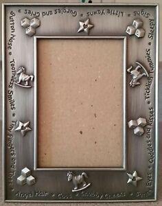 "EUC Hand Polished 3"" x 4.5"" Pewter-like Baby Picture Frame Rocking Horse/Blocks"