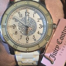 Juicy Couture White Rubber Strap Rhinestone Face Water Resistant Watch Women's