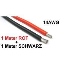 (1,48€/1m) TOP Silikonkabel 14AWG rot + schwarz je 1m 2,08mm² Silikonlitze