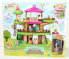 Lil Woodzeez Family Treehouse Playset w/ Elevator, 3 Levels, Rooftop Hangout