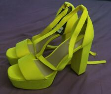 FOREVER 21 Women's Yellow Open Toe Heels Shoes Size UK 5.5 New With Defects