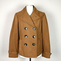 Womens Wool cashmere blend Coat Jacket Size UK 14 Double breasted Camel brown