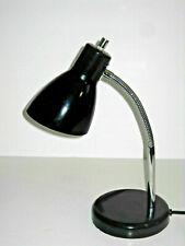 Black Desk Lamp with Chrome Gooseneck Adjustable Metal Cone Shade Nice