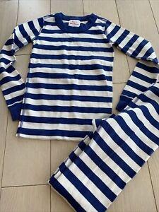 hanna andersson Stripe Blue White pajamas 110 Sz 5