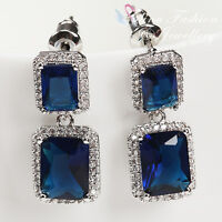 18K White Gold Plated Made With Swarovski Crystal Emerald Cut Sapphire Earrings