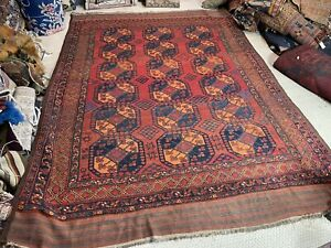 Auth: 19th C Antique Ersari Turkmen Tribal Main Carpet   Organic 8x11 Beauty NR