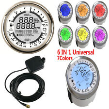 6 in 1 Multi-functional Muiti-color Backlight Gauge GPS Speedometer Tachometer