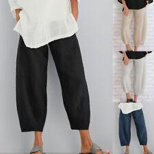 UK Plus Size Women Cotton Linen Baggy Harem Trousers Ladies Casual Pocket Pants