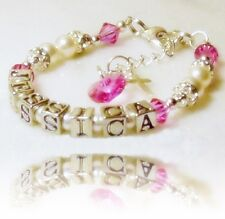 REBORN DOLL Personalised Name Bracelet Girl Doll Swarovski Pearls & Crystals
