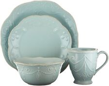 Lenox French Perle Ice Blue Dinnerwear 4 Piece Place Setting Plate Bowl  Mug