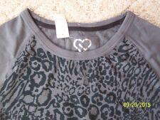 Junior Live Love Dream Long sleeve top shirt Sz Large Gray & Black animal print