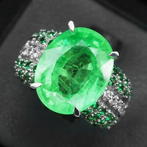 Emerald Green Ring Size 6.5 Oval 13.20 Ct. 925 Sterling Silver Fine Gift Jewelry