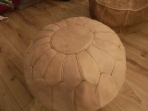Cream Pouffe Moroccan Genuine Leather Pouf Poufe New