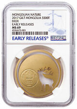 2017 Mongolia Nature Roaring Deer Cut-Out 1/2oz Silver Gilt NGC MS69 ER SKU47642