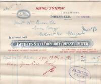 Hadfields Steel Foundry Company Limited Sheffield Monthly 1906 Invoice Ref 41078