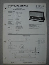 Philips B6D04A Capella Stereo 604 Service Manual inkl. Service Info Ausg. 03/60