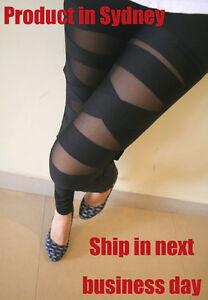 RETRO COLLECTION Sexy Black Stretchy Legwear Cross Bandage Straps Leggings Pants