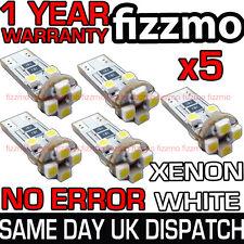 5x 501 W5W T10 CAPLESS WEDGE 8 SMD LED 6000K WHITE CANBUS SIDE LIGHT BULB UK