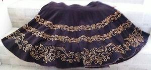 NEW BUFFALO BITTON Brown Corduroy Fringe Full Western Mini Skirt L XL 12 14 $118
