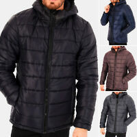 Mens Puffer Jacket Padded Hood Coat Quilted Warm Hooded Winter Jacket