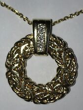 14k Solid Yellow Gold & Diamond Pendant For Necklace Or Chain. Very Unique!!