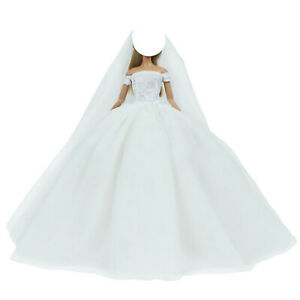 White Princess Wedding Dress Ball Gown Long Veil Clothes for 12 in Doll Girl Toy