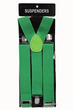 Thick Green Adjustable Suspenders Braces Mens Women Fancy Dress Clip On Slim 2.5